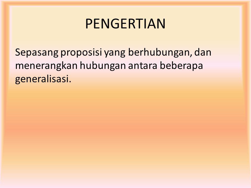 PENGERTIAN Sepasang proposisi yang berhubungan, dan menerangkan hubungan antara beberapa generalisasi.