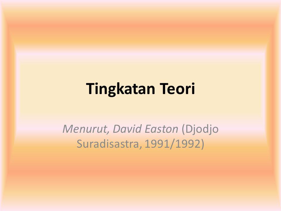Tingkatan Teori Menurut, David Easton (Djodjo Suradisastra, 1991/1992)