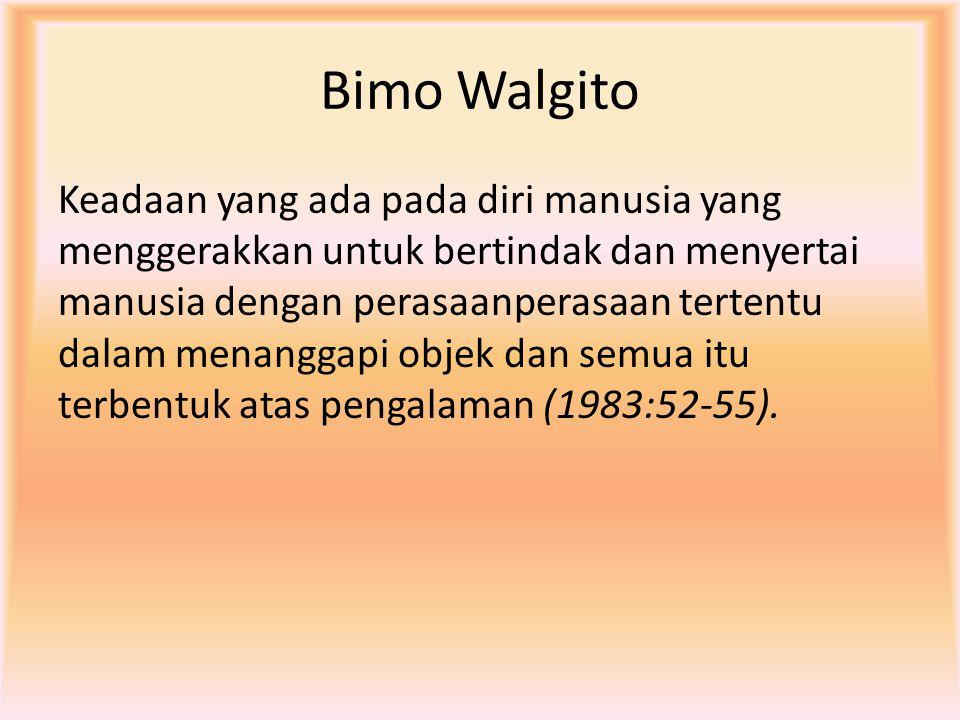 Bimo Walgito Keadaan yang ada pada diri manusia yang menggerakkan untuk bertindak dan menyertai manusia dengan perasaanperasaan tertentu dalam menangg