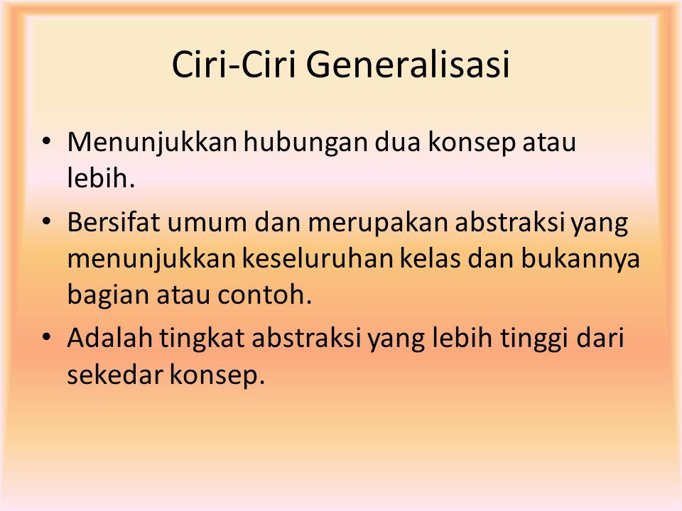 Ciri-Ciri Generalisasi Menunjukkan hubungan dua konsep atau lebih. Bersifat umum dan merupakan abstraksi yang menunjukkan keseluruhan kelas dan bukann