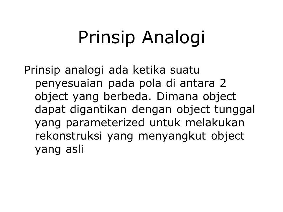 Prinsip Analogi Prinsip analogi ada ketika suatu penyesuaian pada pola di antara 2 object yang berbeda. Dimana object dapat digantikan dengan object t