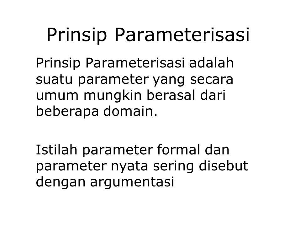 Prinsip Parameterisasi Prinsip Parameterisasi adalah suatu parameter yang secara umum mungkin berasal dari beberapa domain. Istilah parameter formal d