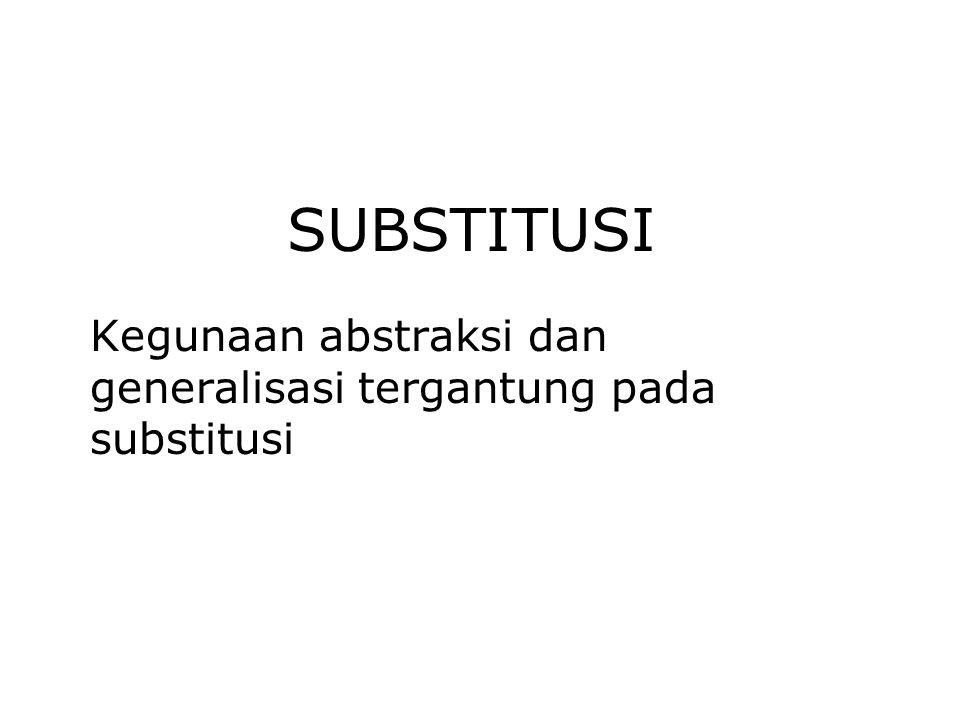 SUBSTITUSI Kegunaan abstraksi dan generalisasi tergantung pada substitusi