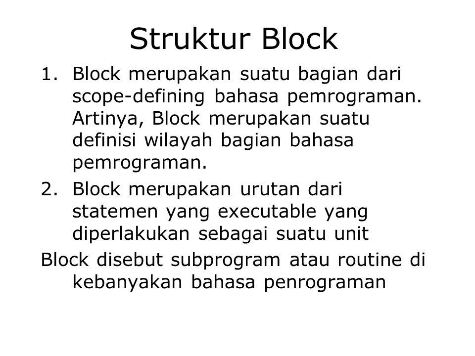 Struktur Block 1.Block merupakan suatu bagian dari scope-defining bahasa pemrograman. Artinya, Block merupakan suatu definisi wilayah bagian bahasa pe