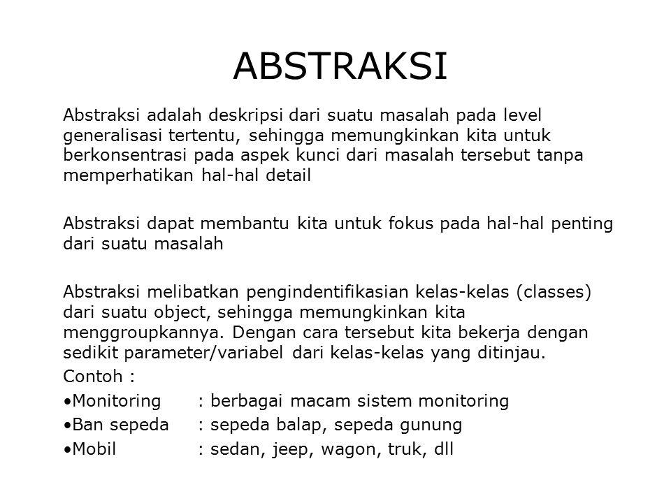 ABSTRAKSI Abstraksi adalah deskripsi dari suatu masalah pada level generalisasi tertentu, sehingga memungkinkan kita untuk berkonsentrasi pada aspek k