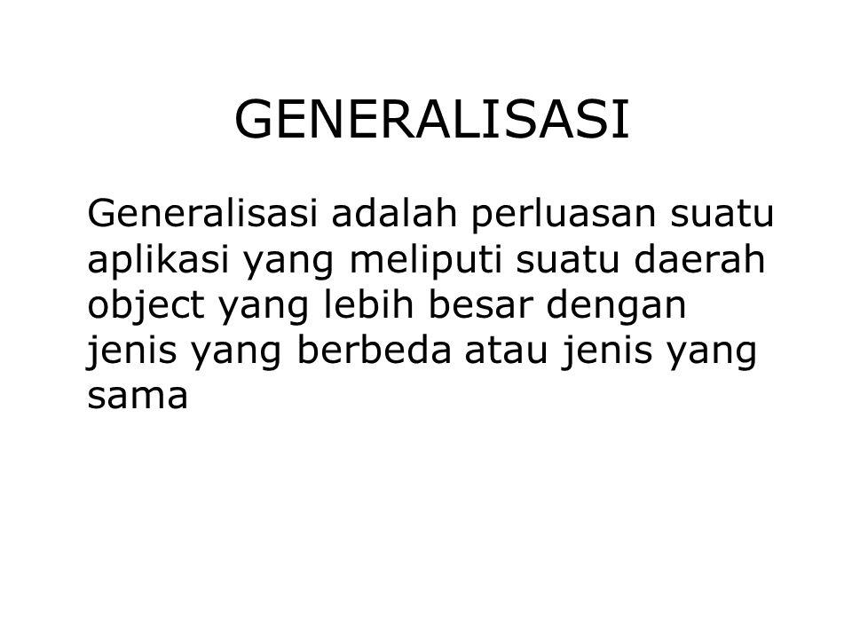GENERALISASI Generalisasi adalah perluasan suatu aplikasi yang meliputi suatu daerah object yang lebih besar dengan jenis yang berbeda atau jenis yang