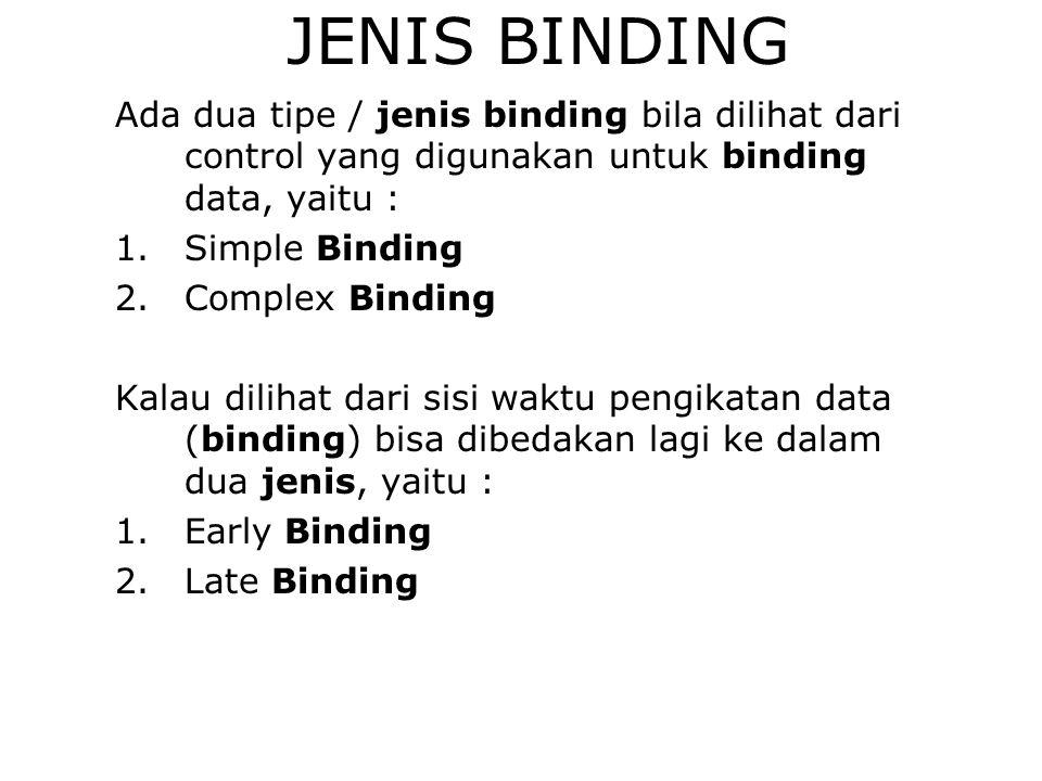 JENIS BINDING Ada dua tipe / jenis binding bila dilihat dari control yang digunakan untuk binding data, yaitu : 1.Simple Binding 2.Complex Binding Kal