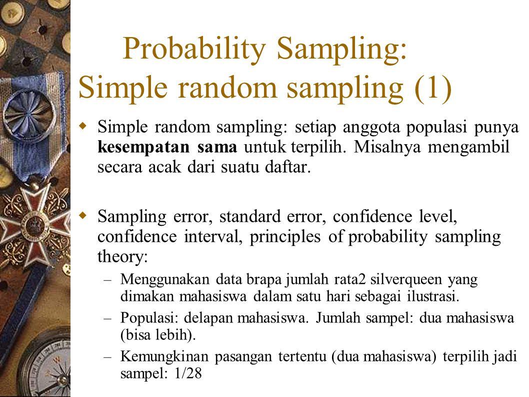 Probability Sampling: Simple random sampling (1)  Simple random sampling: setiap anggota populasi punya kesempatan sama untuk terpilih.