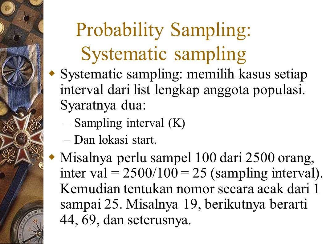 Probability Sampling: Systematic sampling  Systematic sampling: memilih kasus setiap interval dari list lengkap anggota populasi.