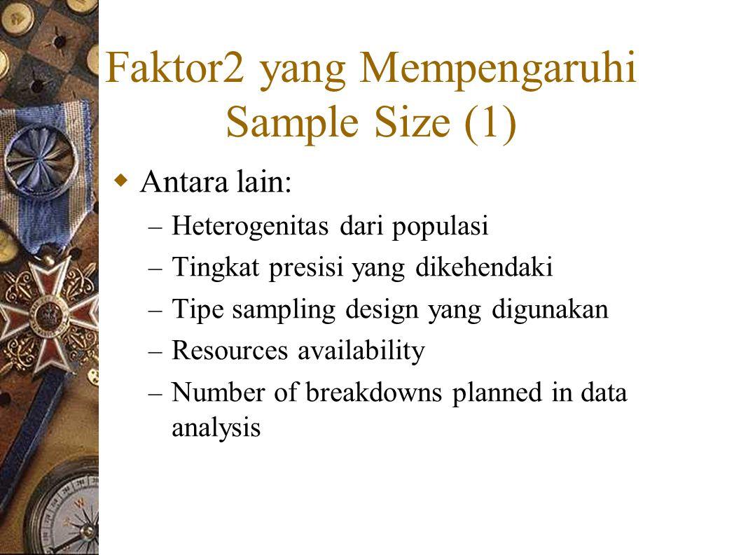 Faktor2 yang Mempengaruhi Sample Size (1)  Antara lain: – Heterogenitas dari populasi – Tingkat presisi yang dikehendaki – Tipe sampling design yang digunakan – Resources availability – Number of breakdowns planned in data analysis