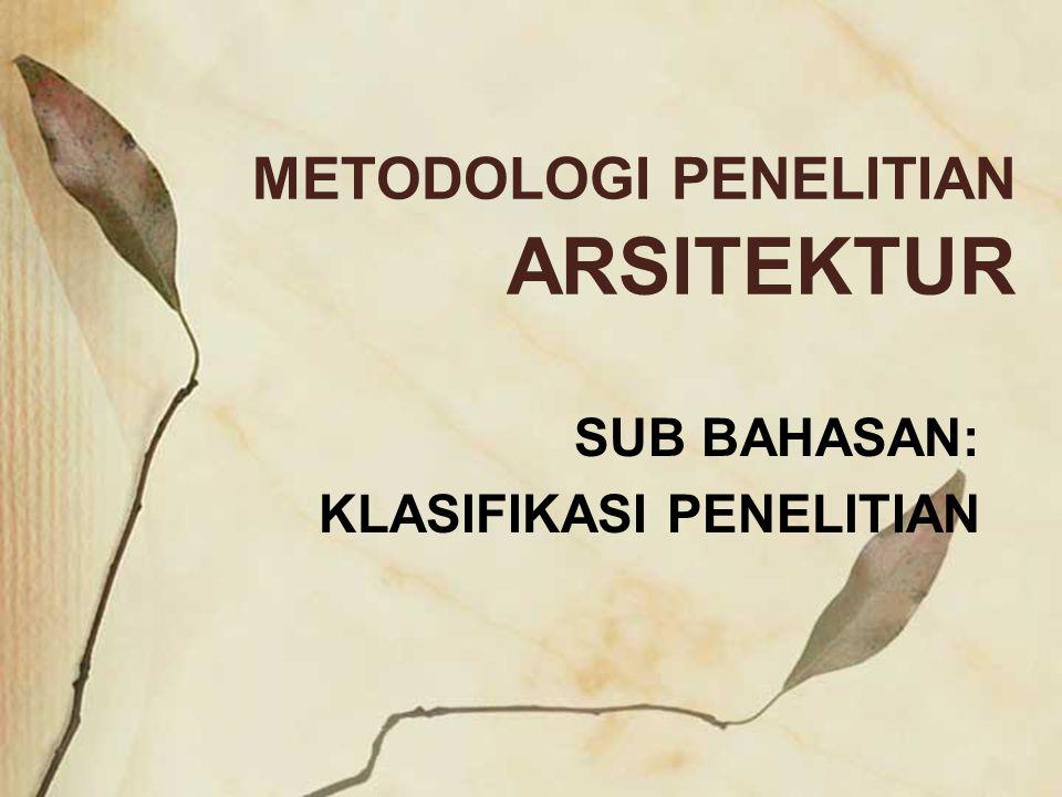 METODOLOGI PENELITIAN ARSITEKTUR SUB BAHASAN: KLASIFIKASI PENELITIAN