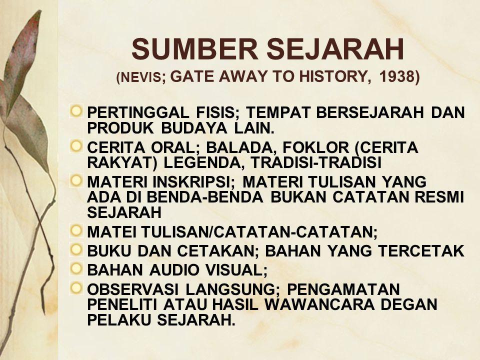 SUMBER SEJARAH (NEVIS ; GATE AWAY TO HISTORY, 1938) PERTINGGAL FISIS; TEMPAT BERSEJARAH DAN PRODUK BUDAYA LAIN. CERITA ORAL; BALADA, FOKLOR (CERITA RA