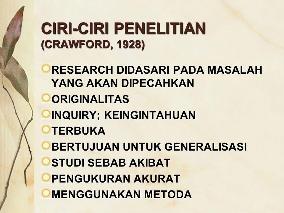 CIRI-CIRI PENELITIAN (CRAWFORD, 1928) RESEARCH DIDASARI PADA MASALAH YANG AKAN DIPECAHKAN ORIGINALITAS INQUIRY; KEINGINTAHUAN TERBUKA BERTUJUAN UNTUK