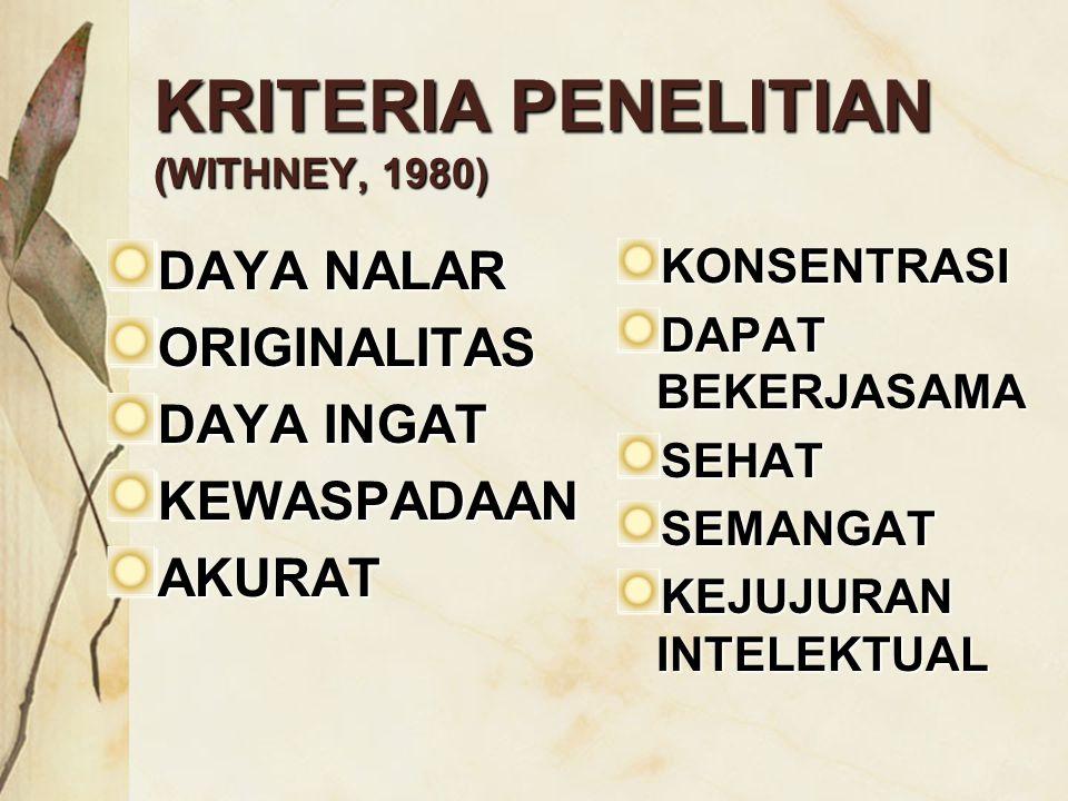 KRITERIA PENELITIAN (WITHNEY, 1980) DAYA NALAR ORIGINALITAS DAYA INGAT KEWASPADAANAKURATKONSENTRASI DAPAT BEKERJASAMA SEHATSEMANGAT KEJUJURAN INTELEKT