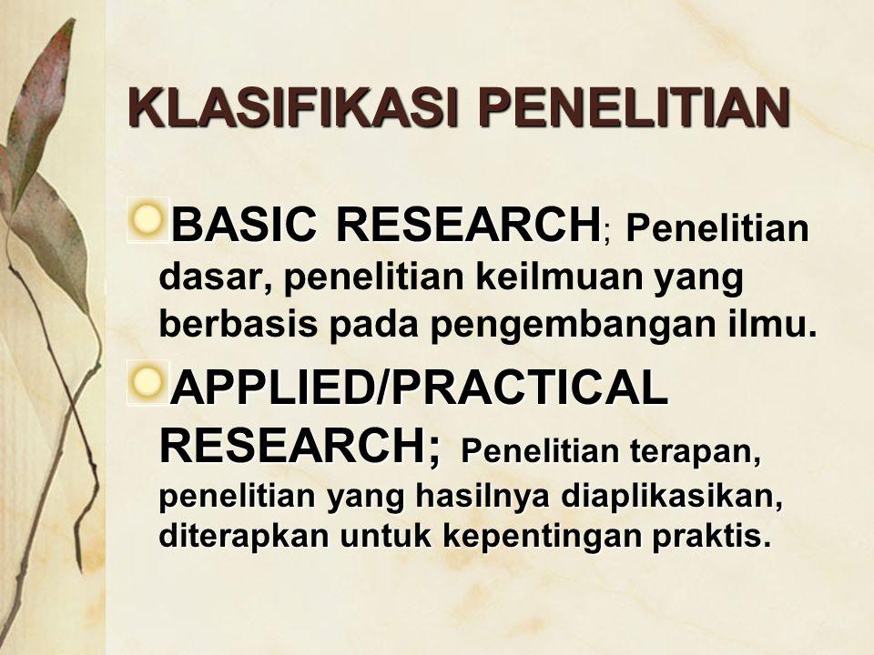 KLASIFIKASI PENELITIAN BASIC RESEARCH BASIC RESEARCH ; Penelitian dasar, penelitian keilmuan yang berbasis pada pengembangan ilmu. APPLIED/PRACTICAL R