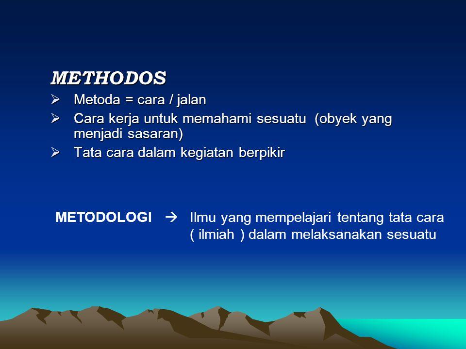 METHODOS  Metoda = cara / jalan  Cara kerja untuk memahami sesuatu (obyek yang menjadi sasaran)  Tata cara dalam kegiatan berpikir METODOLOGI  Ilmu yang mempelajari tentang tata cara ( ilmiah ) dalam melaksanakan sesuatu