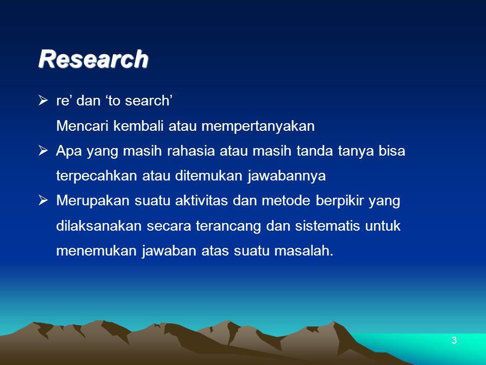 3 Research  re' dan 'to search' Mencari kembali atau mempertanyakan  Apa yang masih rahasia atau masih tanda tanya bisa terpecahkan atau ditemukan jawabannya  Merupakan suatu aktivitas dan metode berpikir yang dilaksanakan secara terancang dan sistematis untuk menemukan jawaban atas suatu masalah.