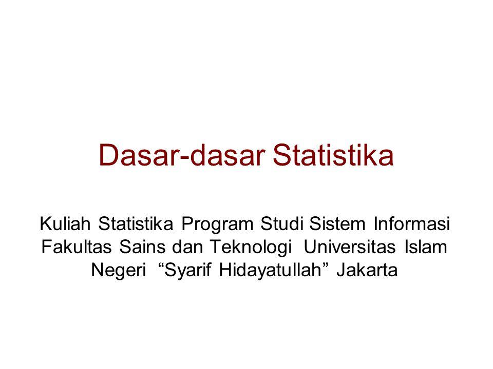 """Dasar-dasar Statistika Kuliah Statistika Program Studi Sistem Informasi Fakultas Sains dan Teknologi Universitas Islam Negeri """"Syarif Hidayatullah"""" Ja"""