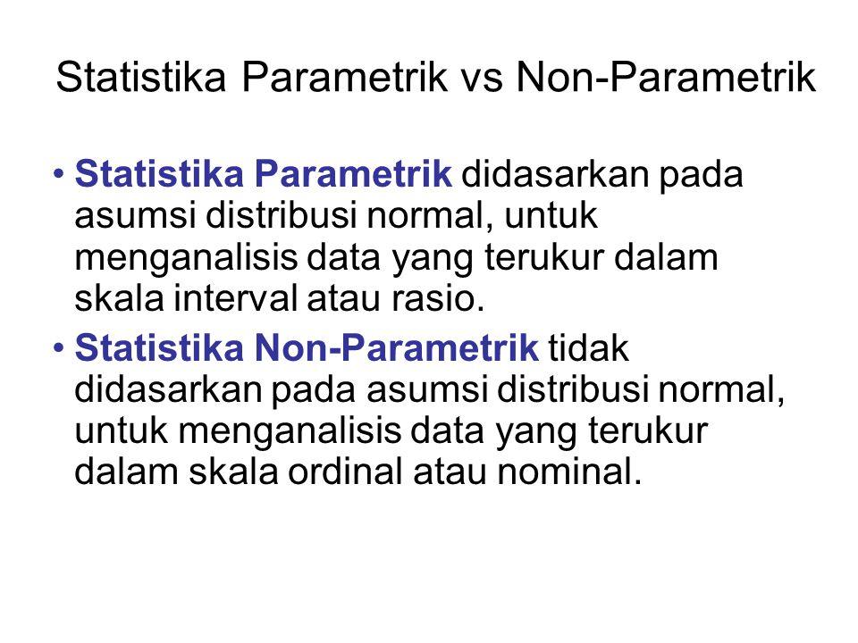 Statistika Parametrik vs Non-Parametrik Statistika Parametrik didasarkan pada asumsi distribusi normal, untuk menganalisis data yang terukur dalam ska