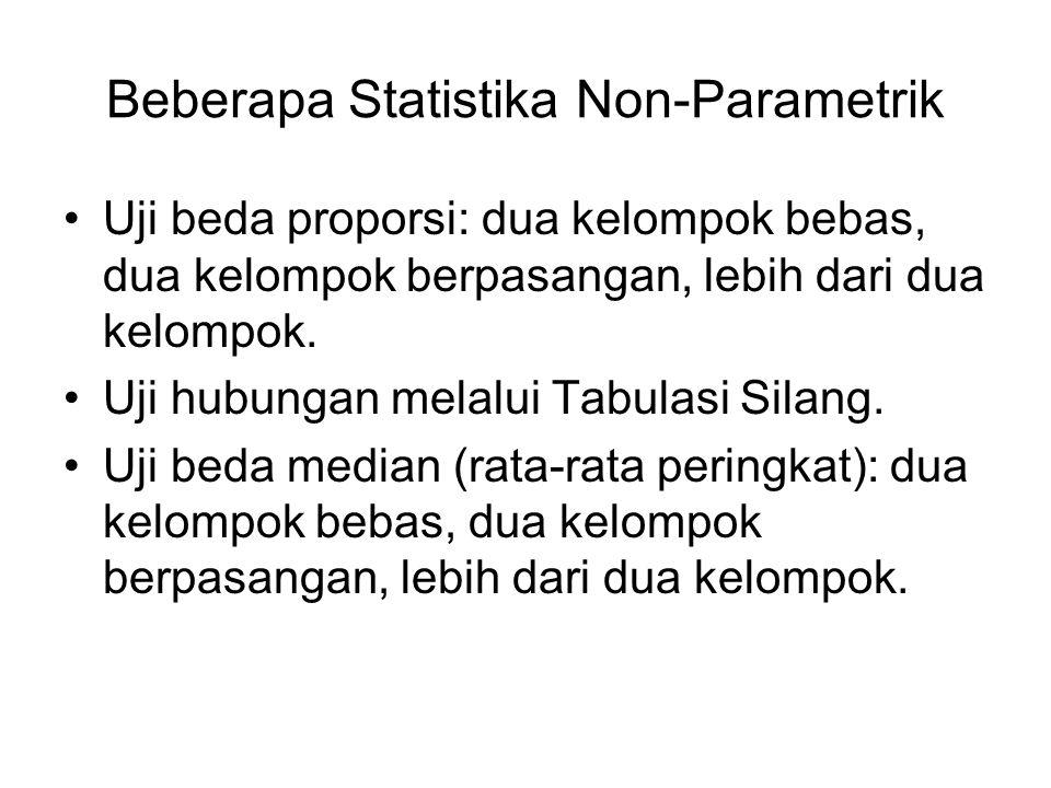 Beberapa Statistika Non-Parametrik Uji beda proporsi: dua kelompok bebas, dua kelompok berpasangan, lebih dari dua kelompok. Uji hubungan melalui Tabu