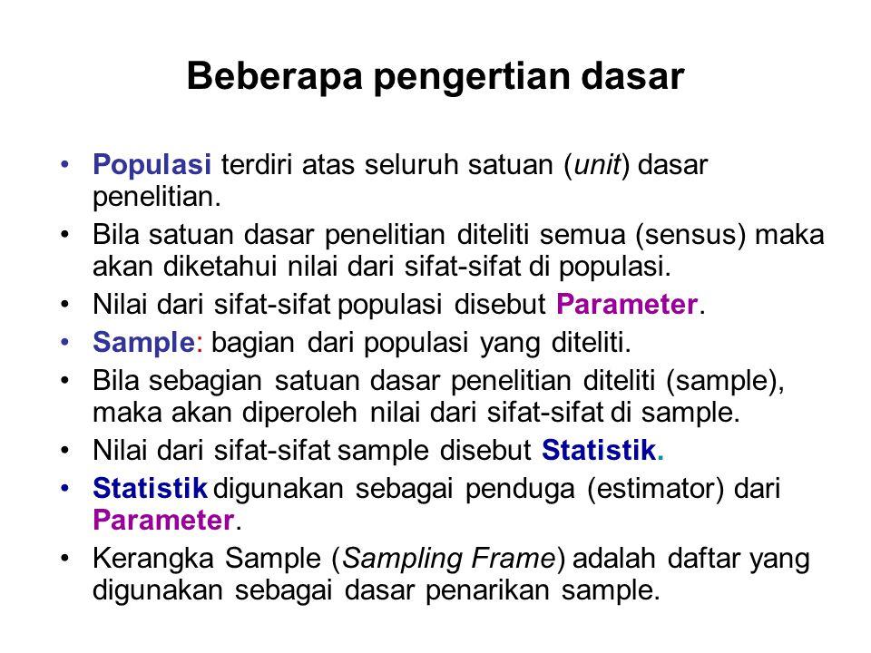 Beberapa pengertian dasar Populasi terdiri atas seluruh satuan (unit) dasar penelitian. Bila satuan dasar penelitian diteliti semua (sensus) maka akan