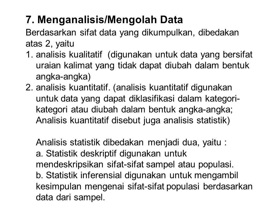 7. Menganalisis/Mengolah Data Berdasarkan sifat data yang dikumpulkan, dibedakan atas 2, yaitu 1.analisis kualitatif (digunakan untuk data yang bersif