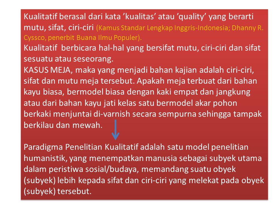 Kualitatif berasal dari kata 'kualitas' atau 'quality' yang berarti mutu, sifat, ciri-ciri (Kamus Standar Lengkap Inggris-Indonesia; Dhanny R. Cyssco,