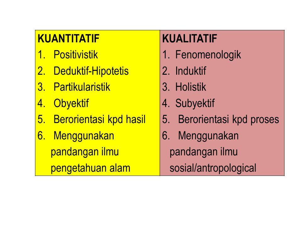 Paradigma KuantitatifParadigma Kualitatif 1.