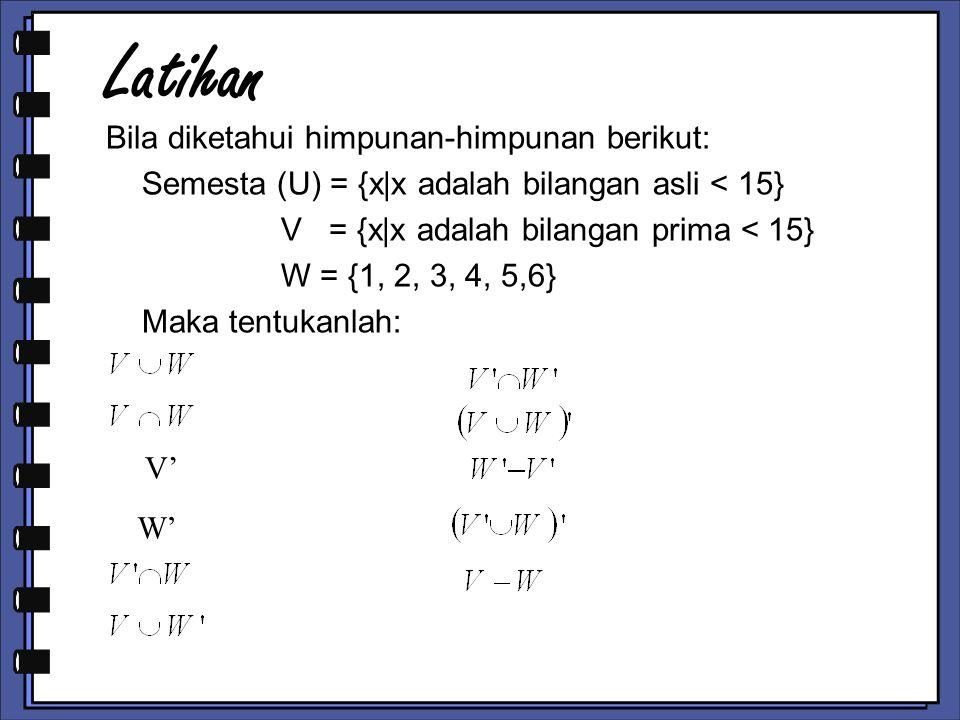 Latihan Bila diketahui himpunan-himpunan berikut: Semesta (U) = {x x adalah bilangan asli < 15} V = {x x adalah bilangan prima < 15} W = {1, 2, 3, 4, 5,6} Maka tentukanlah: V' W'