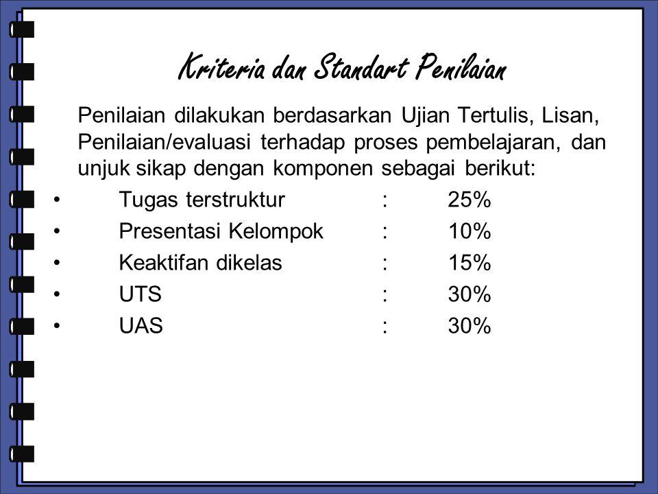 Kriteria dan Standart Penilaian Penilaian dilakukan berdasarkan Ujian Tertulis, Lisan, Penilaian/evaluasi terhadap proses pembelajaran, dan unjuk sikap dengan komponen sebagai berikut: Tugas terstruktur:25% Presentasi Kelompok :10% Keaktifan dikelas:15% UTS:30% UAS:30%