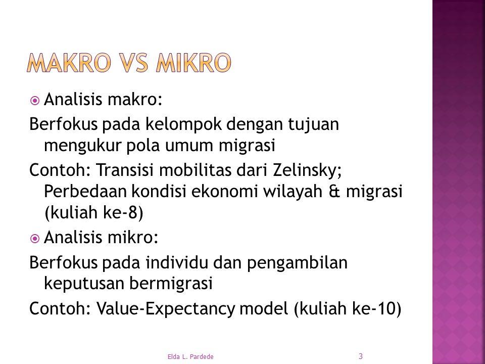  Analisis makro: Berfokus pada kelompok dengan tujuan mengukur pola umum migrasi Contoh: Transisi mobilitas dari Zelinsky; Perbedaan kondisi ekonomi wilayah & migrasi (kuliah ke-8)  Analisis mikro: Berfokus pada individu dan pengambilan keputusan bermigrasi Contoh: Value-Expectancy model (kuliah ke-10) 3 Elda L.
