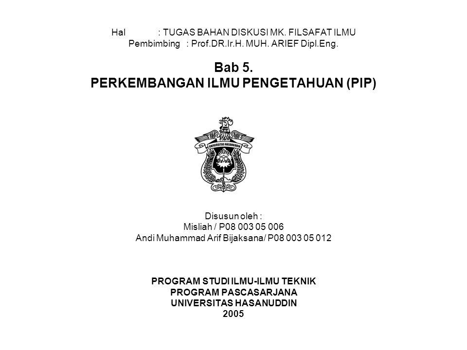Hal: TUGAS BAHAN DISKUSI MK.FILSAFAT ILMU Pembimbing : Prof.DR.Ir.H.