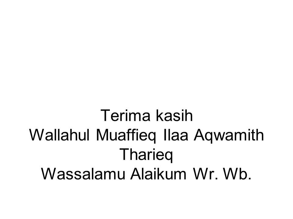 Terima kasih Wallahul Muaffieq Ilaa Aqwamith Tharieq Wassalamu Alaikum Wr. Wb.