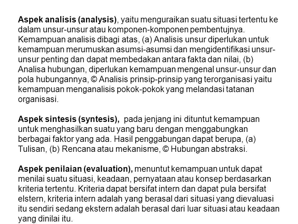 Aspek analisis (analysis), yaitu menguraikan suatu situasi tertentu ke dalam unsur-unsur atau komponen-komponen pembentujnya. Kemampuan analisis dibag