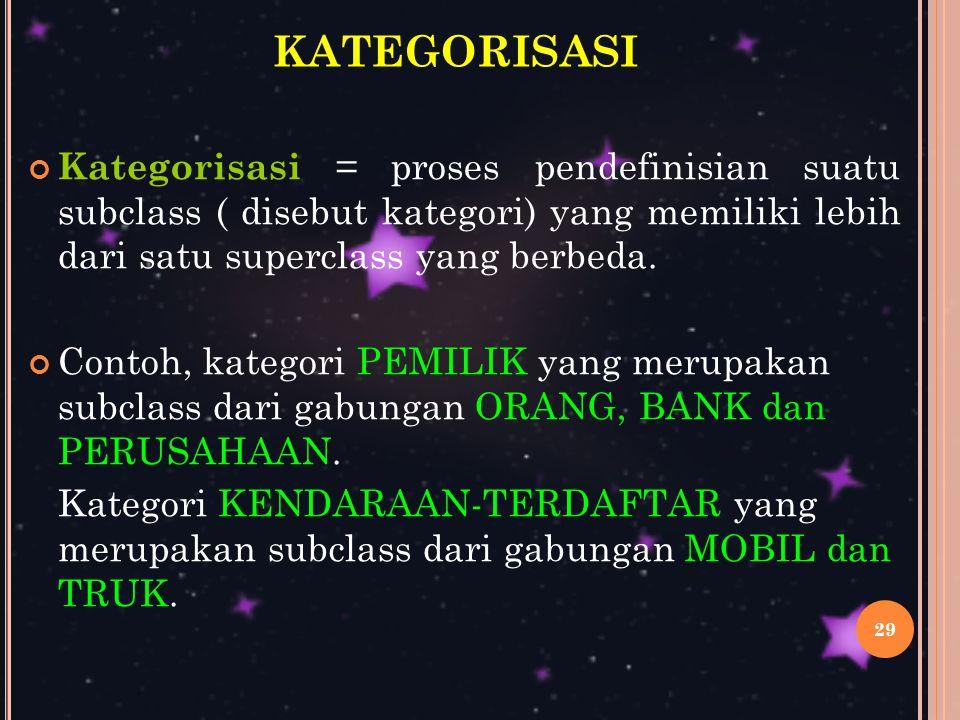 29 KATEGORISASI Kategorisasi = proses pendefinisian suatu subclass ( disebut kategori) yang memiliki lebih dari satu superclass yang berbeda.