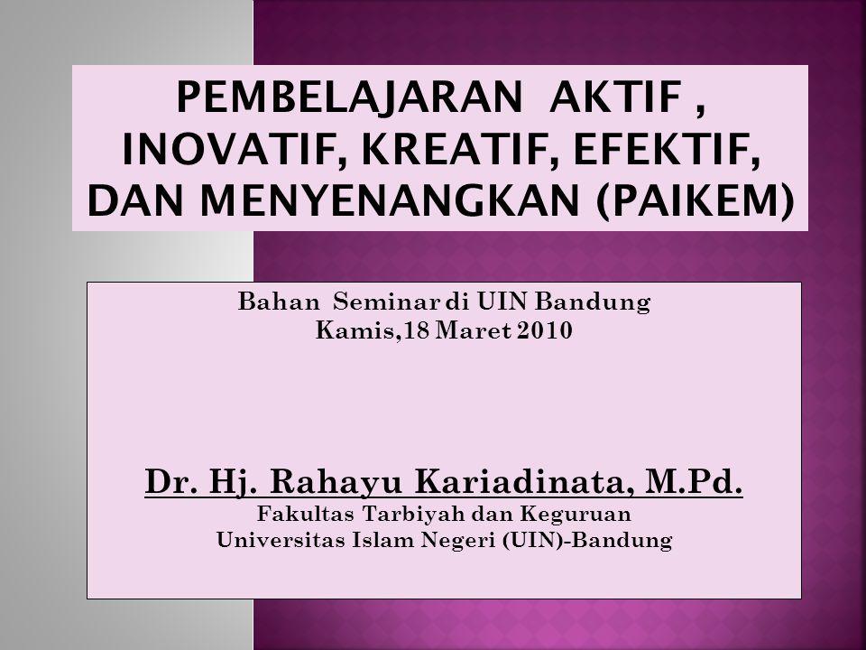Bahan Seminar di UIN Bandung Kamis,18 Maret 2010 Dr.