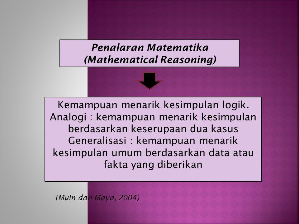 Penalaran Matematika (Mathematical Reasoning) Kemampuan menarik kesimpulan logik.