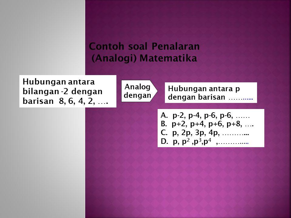 Hubungan antara bilangan -2 dengan barisan 8, 6, 4, 2, ….