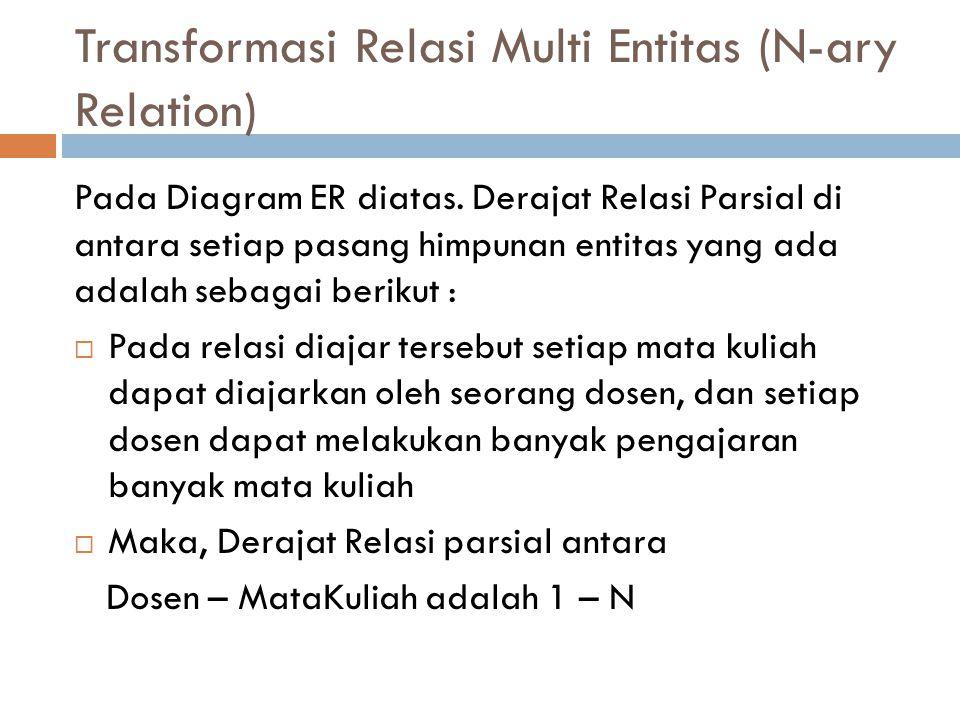 Transformasi Relasi Multi Entitas (N-ary Relation) Pada Diagram ER diatas. Derajat Relasi Parsial di antara setiap pasang himpunan entitas yang ada ad