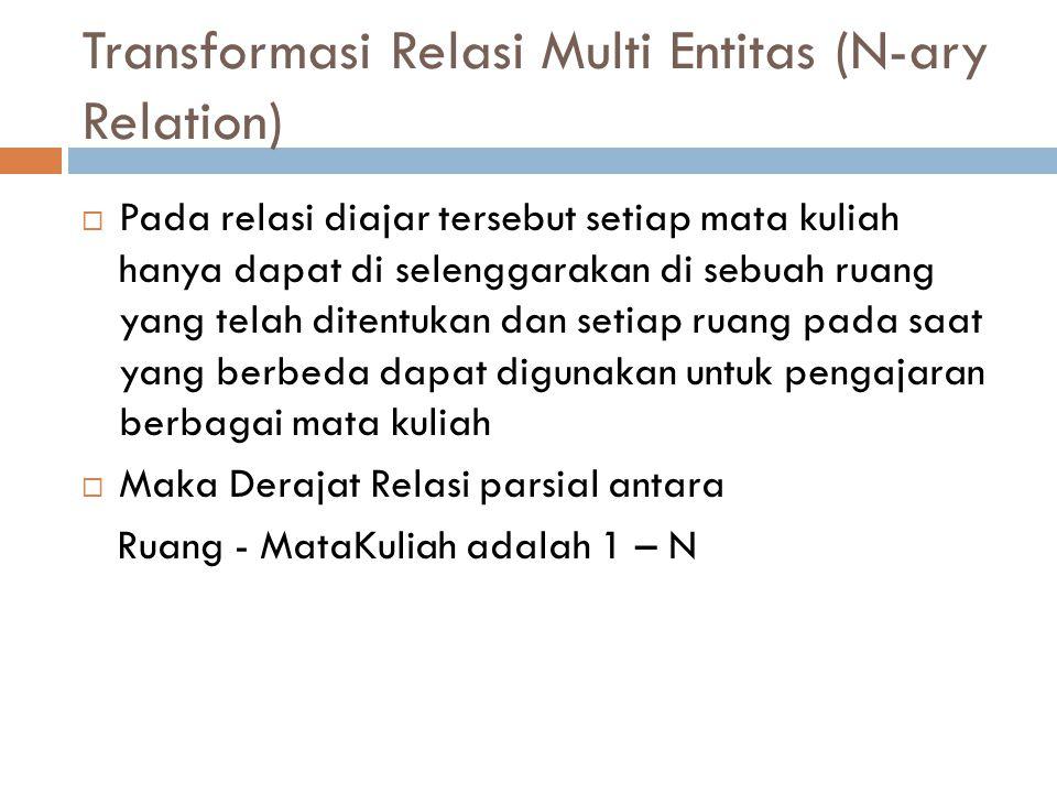 Transformasi Relasi Multi Entitas (N-ary Relation)  Pada relasi diajar tersebut setiap mata kuliah hanya dapat di selenggarakan di sebuah ruang yang
