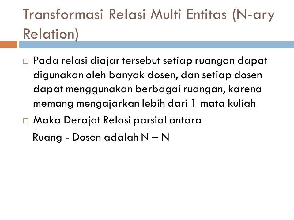 Transformasi Relasi Multi Entitas (N-ary Relation)  Pada relasi diajar tersebut setiap ruangan dapat digunakan oleh banyak dosen, dan setiap dosen da