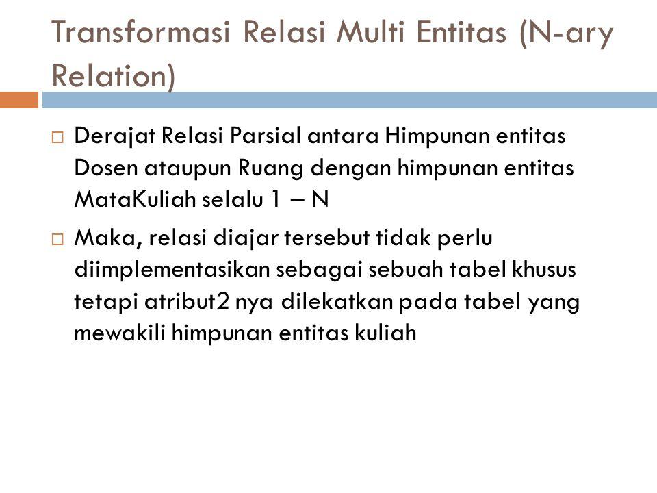 Transformasi Relasi Multi Entitas (N-ary Relation)  Derajat Relasi Parsial antara Himpunan entitas Dosen ataupun Ruang dengan himpunan entitas MataKu