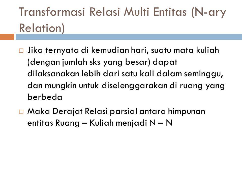 Transformasi Relasi Multi Entitas (N-ary Relation)  Jika ternyata di kemudian hari, suatu mata kuliah (dengan jumlah sks yang besar) dapat dilaksanak