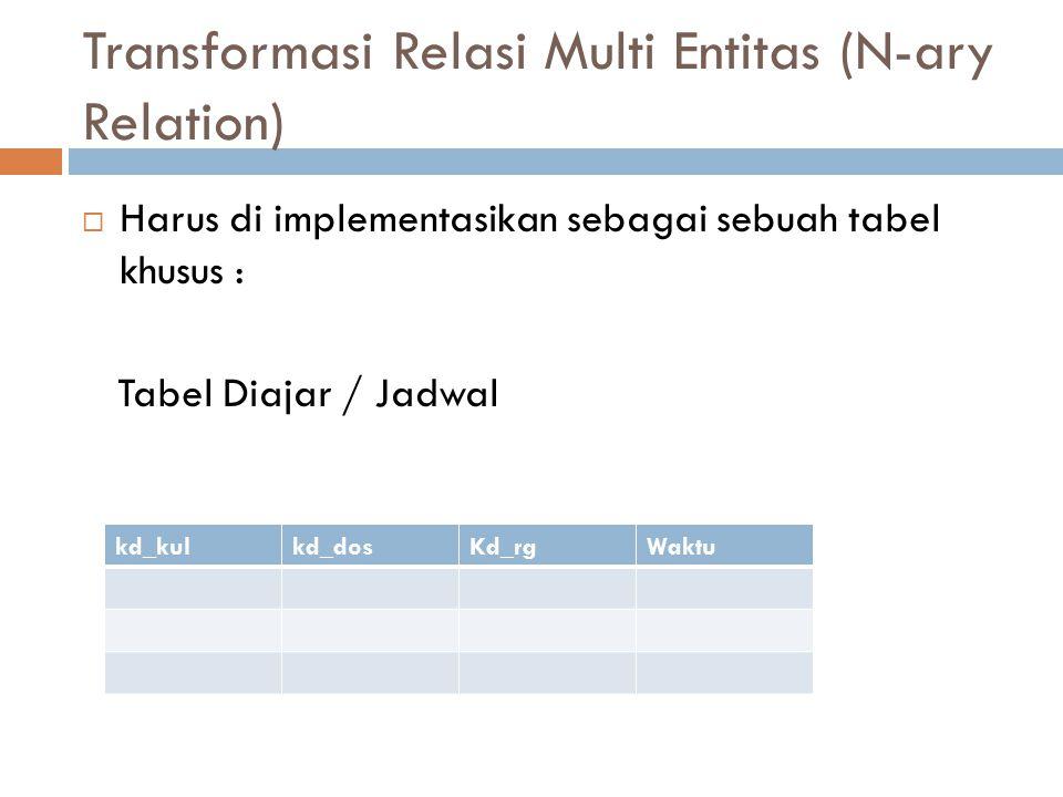 Transformasi Relasi Multi Entitas (N-ary Relation)  Harus di implementasikan sebagai sebuah tabel khusus : Tabel Diajar / Jadwal kd_kulkd_dosKd_rgWak