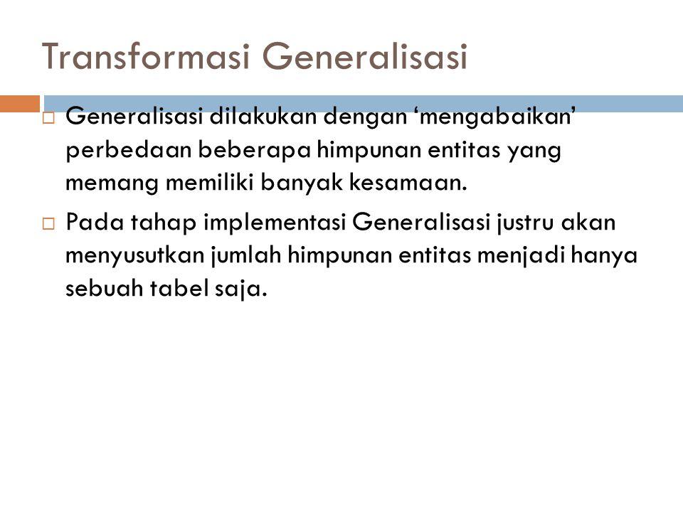 Transformasi Generalisasi  Generalisasi dilakukan dengan 'mengabaikan' perbedaan beberapa himpunan entitas yang memang memiliki banyak kesamaan.  Pa