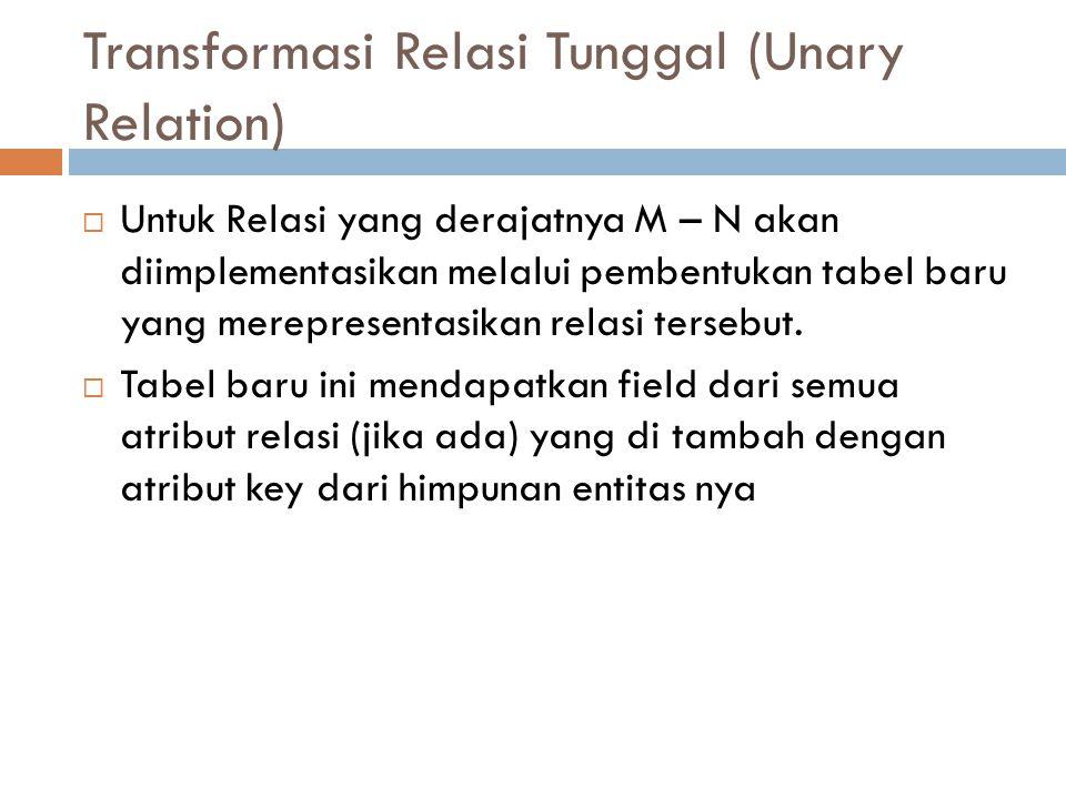 Transformasi Relasi Tunggal (Unary Relation)  Untuk Relasi yang derajatnya M – N akan diimplementasikan melalui pembentukan tabel baru yang mereprese