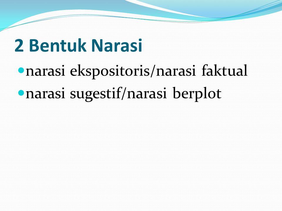 2 Bentuk Narasi narasi ekspositoris/narasi faktual narasi sugestif/narasi berplot