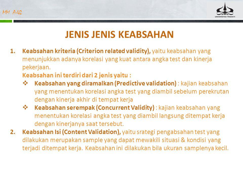 MM A-42 JENIS JENIS KEABSAHAN 1.Keabsahan kriteria (Criterion related validity), yaitu keabsahan yang menunjukkan adanya korelasi yang kuat antara ang