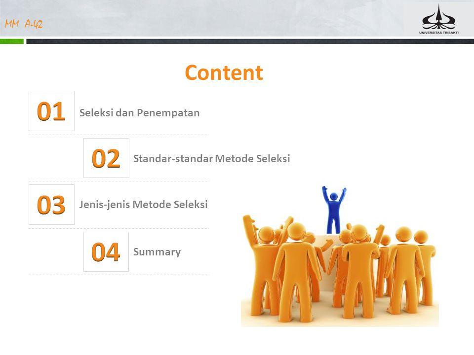 MM A-42 Content Jenis-jenis Metode Seleksi Seleksi dan Penempatan Standar-standar Metode Seleksi Summary