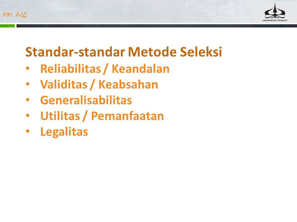 MM A-42 Standar-standar Metode Seleksi Reliabilitas / Keandalan Validitas / Keabsahan Generalisabilitas Utilitas / Pemanfaatan Legalitas